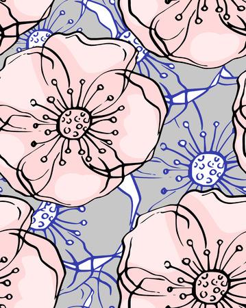 flores abstractas: ejemplo de la acuarela. flores abstractas de fondo sin fisuras. dibujado a mano.