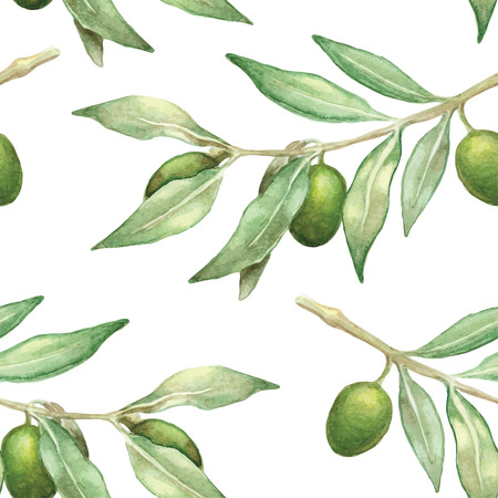 watercolor olive branch seamless pattern. hand-drawn background