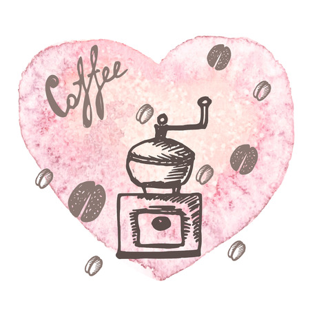 coffee mill: watercolor texture heart with coffee mill. colorful hand-drawn background