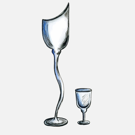 stemware: two empty stemware. ink and watercolor hand-drawn sketch