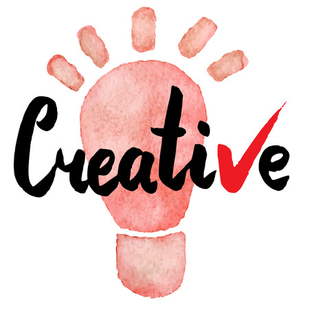 cretive: Cretive. Hand drawn lettering on watercolor background