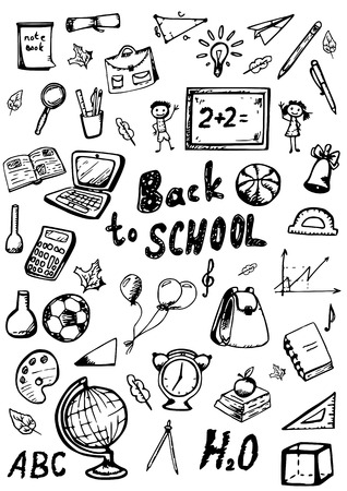 for boys: back to school doodles set. vector hand drawn illustration on white background