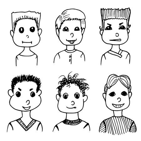 userpic: boys avatars set. hand drawn doodles on white background Illustration