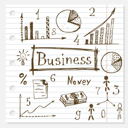 business doodles hand drawn set on lined paper