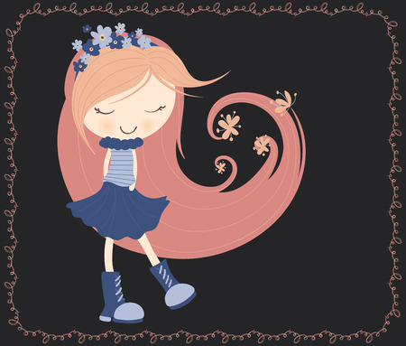 cute girl with long hair: cute doodle little girl with flowrs in long hair. Illustration
