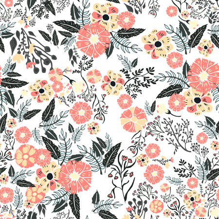 Abstract flowers seamless pattern. Colorful vector background