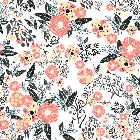 dessin fleur: R�sum� fleurs seamless pattern. Fond color� vecteur