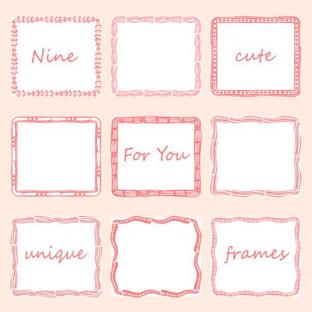 photo frames: Set of nine square doodles frames.v