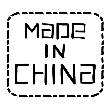 made in china: Made in China. hand drawn lettering with unique frame