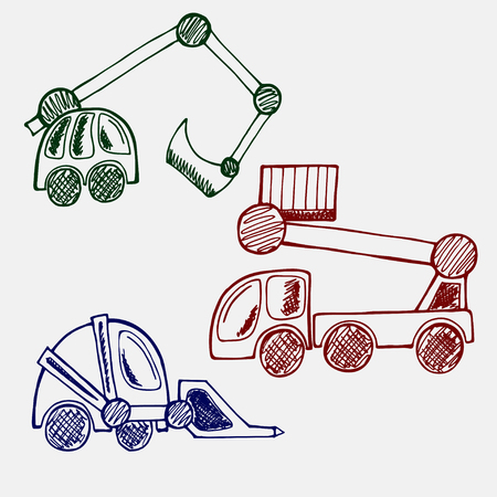 jenny: Construction Machinery hand drawn doodle set. line art of three cars excavator, wheel loader, aerial work platform