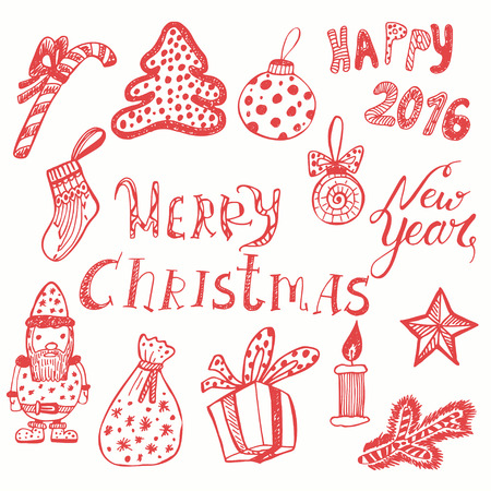 congratulations: Merry Christmas doodles kit. Hand drawn vector set with Christmas decorations, images of gifts, Santa and text of congratulations