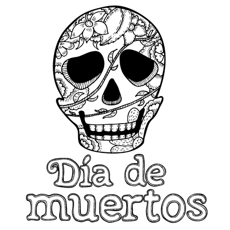 day of dead: Mexican poster with sugar skull and text day of the dead . Hand drawn black isolate line art
