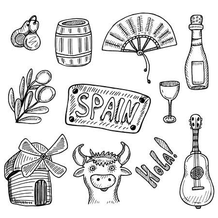 Hand drawn collection of Spanish symbols in doodle technique. line art of barrel, wine, wine glass, fan, olives, guitar, bull, mill and inscriptions: 'Hello' in Spanish and 'Spain' on the plate