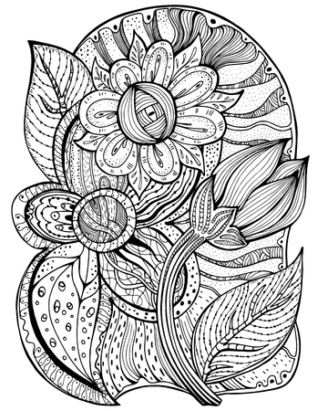 tattoo flower: Vector pattern for coloring book. Ethnic retro design in zentangle style with floral elements,Black line art on white background. Illustration