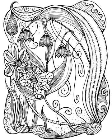 henna design: Vector pattern for coloring book.