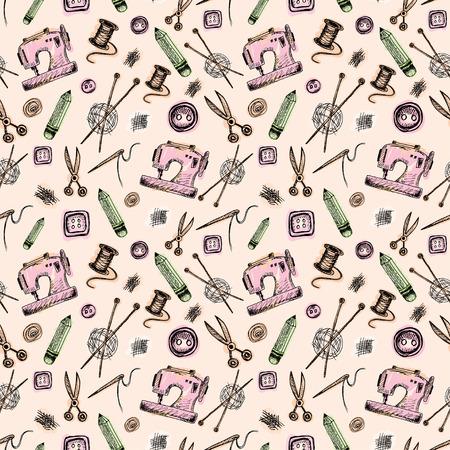 Nahtloses Muster Mit Sewing Supplies In Doodle-Stil. Vintage ...