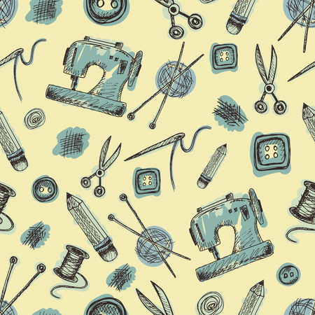 sewing supplies: Seamless pattern with Sewing Supplies in doodle style. Vintage background with images of sewing machine, needle, scissors, buttons, ball of thread with spokes, pencil, scissors and spool