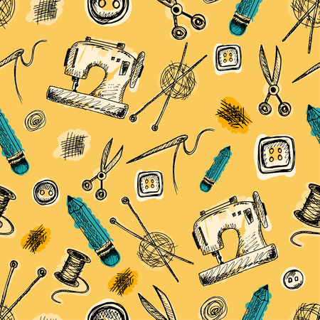 Seamless pattern with Sewing Supplies in doodle style. Vintage background with images of sewing machine, needle, scissors, buttons, ball of thread with spokes, pencil, scissors and spool