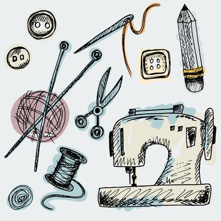 coser: Conjunto de Suministros aislados lindos en el estilo de dibujo. Las imágenes del vintage de la máquina de coser, agujas, tijeras, botones, bola de hilo con rayos, lápiz, tijeras y carrete Vectores