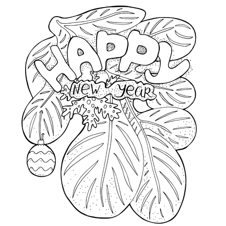 inscription: Vector pattern for coloring book with New Years greeting. retro design in doodle style with hand drawn inscription and Christmas decoration. Black line art on white background.