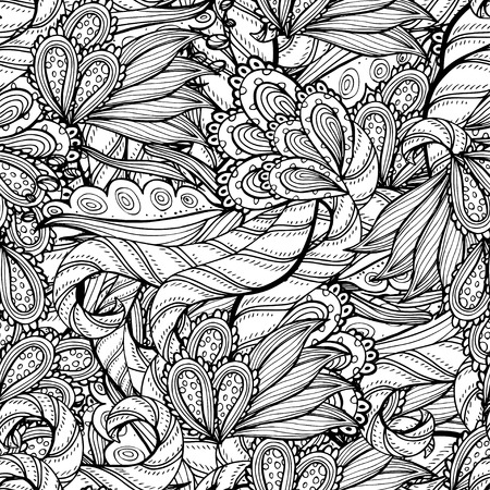 colorless: Vector colorless seamless pattern. Ethnic retro design with floral elements Illustration
