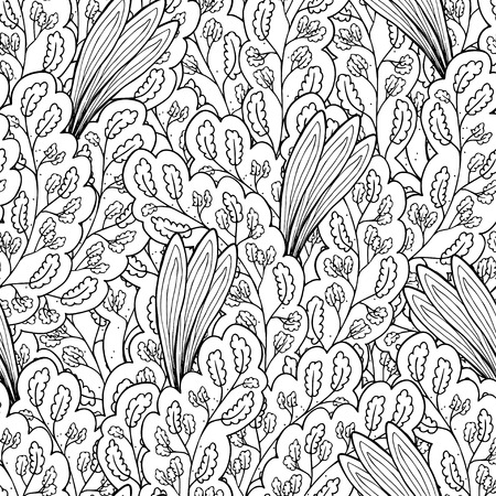 seamless floral pattern: Vector colorless seamless pattern. Ethnic retro design with floral elements Illustration