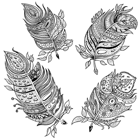 single animal: set of 4 hand drawn line art of single feathers with ornaments. unique vector illustration, black and white colors