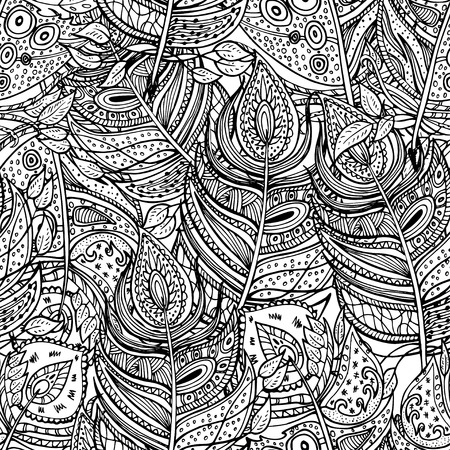 Vector colorless seamless pattern. Ethnic retro design with feathers in zentangle style with abstract ornament for textile, fashion fabric, wallpaper, wrapping paper etc
