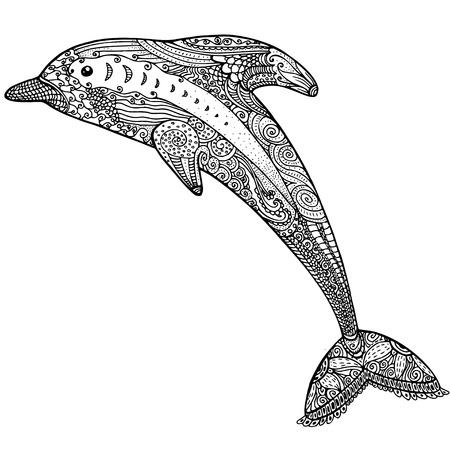 dolphin fish: Zentangle stylized image of totem animal: dolphin. Adult anti stress page for coloring book. Hand drawn illustration in doodle style. Vector black isolated sketch