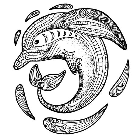 Zentangle トーテム動物の様式化されたイメージ: イルカ。大人塗り絵のストレス ページ アンチ。落書き風の手描きイラスト。ベクトル黒分離スケッチ