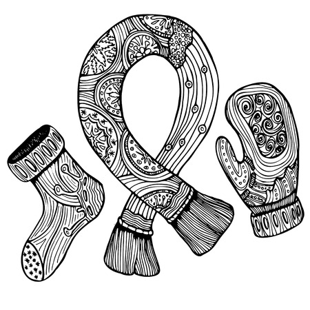 mitten: Vector pattern for coloring book. Ethnic retro design with winter clothes: mitten, sock, scarf