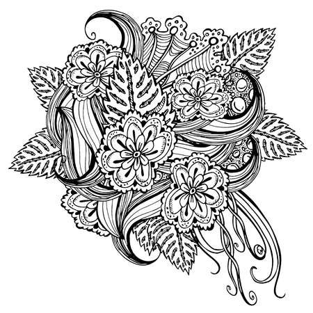 Vector Pattern For Coloring Book Ethnic Retro Design With Abstract Flowers Black Line Art