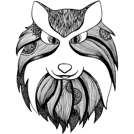 engrave: totem animal: wolf. Adult anti stress page for coloring book. Hand drawn illustration in doodle style. Vector black isolated sketch