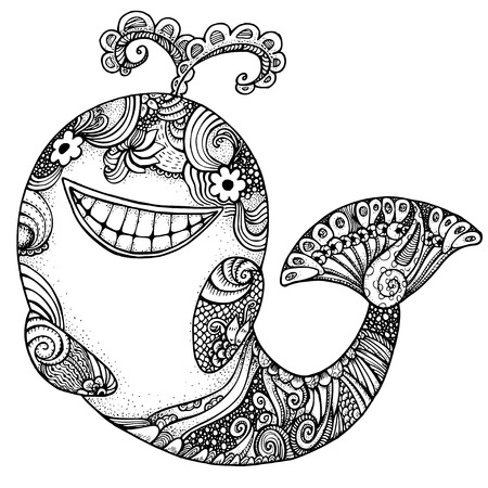 whale: dolphin. Adult anti stress page for coloring book. Hand drawn illustration in doodle style. Vector black and white isolated sketch