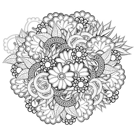 Modelo Con Las Flores Abstractas. Página Para Colorear Libro Para ...