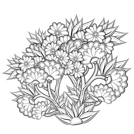 Pattern with abstract flowers. Coloring book page for adult