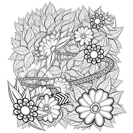 retro flower: Pattern with abstract flowers. Coloring book page for adult