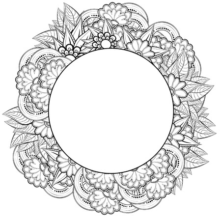 Vector Floral Round Frame Ethnic Retro Design In Zentangle Style