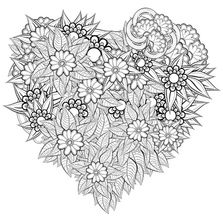 Vector heart-shaped pattern for coloring book. Ethnic retro design in zentangle style with floral elements,Black line art on white background.