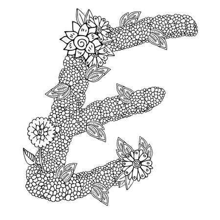 vormig patroon van de hoofdletter E versierd met bloemen ornament. Kleurboek pagina voor volwassenen