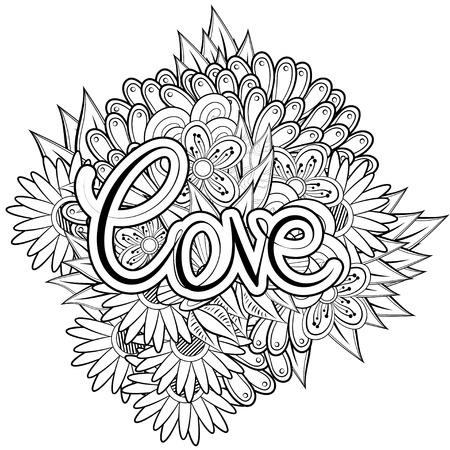 coloring book page: Coloring book page style with abstract flowers and inscription love. Vector monochrome illustration Illustration