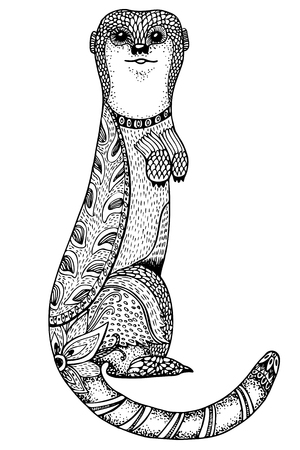 black squirrel: Vector hand drawn illustration of ground squirrel for coloring book. Ethnic retro design style with floral elements,Black line art on white background. Illustration