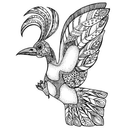mythical: isolated line art of single mythical bird with ornaments style. unique vector illustration for coloring book. Illustration