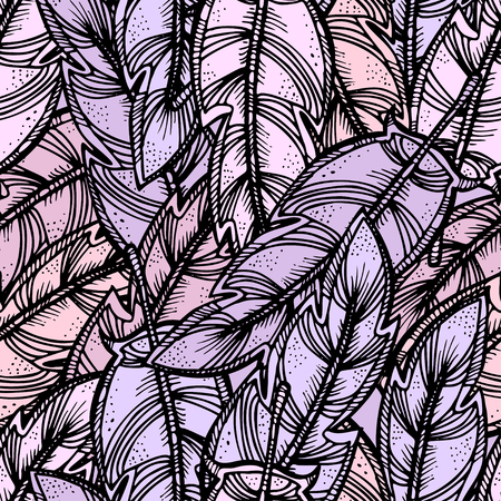Vector seamless pattern. Ethnic retro design with feathers style with abstract ornament for textile, fashion fabric, wallpaper, wrapping paper etc
