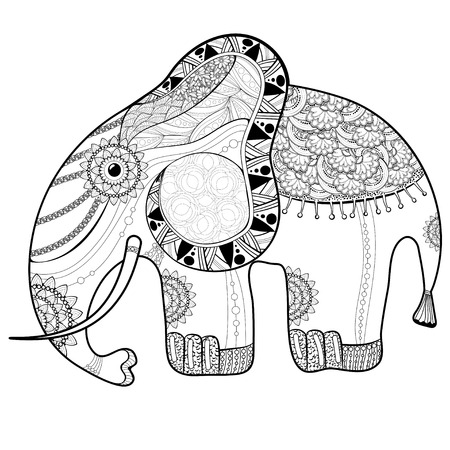 Coloring book page for adults. Elephant. Ethnic anti stress pattern of totem animal style Illustration