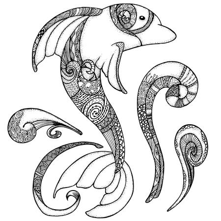 Zentangle Stilisiertes Bild Totemtier: Delphin. Erwachsene Anti ...