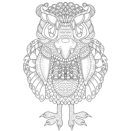 book pages: Vector pattern with totem animal - owl. Coloring book page for adult
