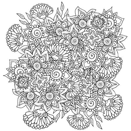 抽象的な花模様。大人のぬりえ本