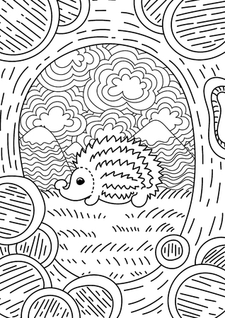 trees silhouette: pattern with landscape. Hedgehog on the Hedgehog. Coloring book page for adult and kids.