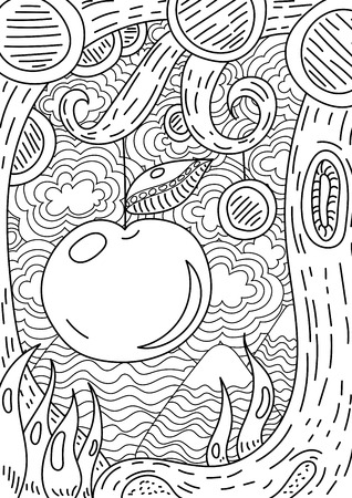 cartoon mountain: pattern with landscape. apple on tree . Coloring book page for adult and kids